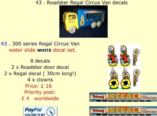 43 . Tri-ang Roadster Regal Circus Van decals